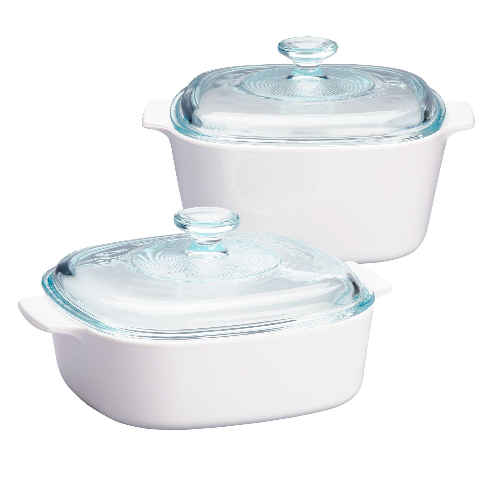 Stovetop Pyroceram Just White 4 Pc Casserole Set Corningware