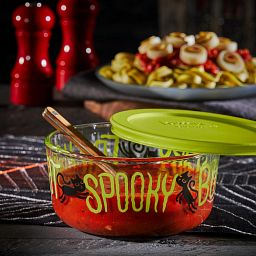 Trick or Treat 4-cup Glass Food Storage Container with sauce inside