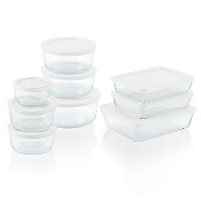 18-piece Glass Food Storage Container Set with White Lids