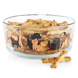 Furever Dog 7-cup Glass Food Storage Container with snacks inside