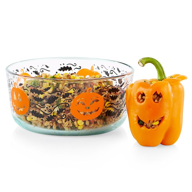 Pumpkin 7-cup Glass Storage Container with Black Lid
