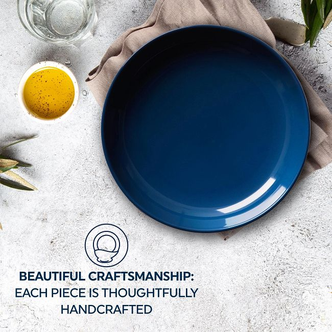 """Stoneware 8.45"""" Meal Bowls, Navy, 4-pack"""