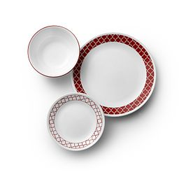 Crimson Trellis 18-piece Dinnerware Set showing dinner & lunch plate and soup bowl from top view