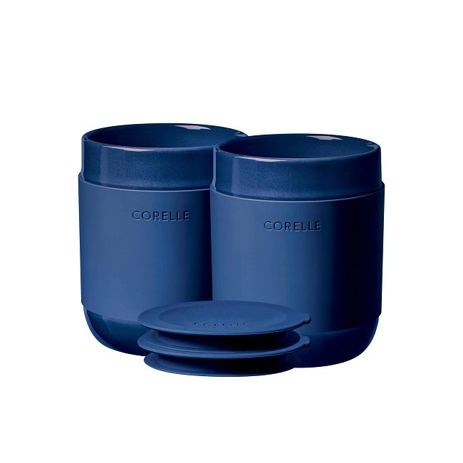 Stoneware 13.5-ounce Tumblers with Silicone Lids, Navy, 4-pack