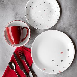 Polka Dottie 16-piece Dinnerware Set, Service for 4 on the table