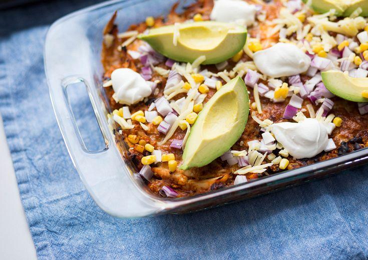 Quinoa chicken enchilada bake