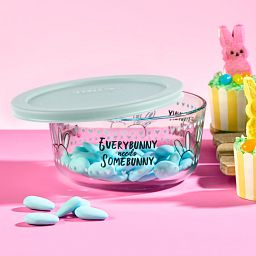 Every Bunny Needs Somebunny Blue 4-cup Food Storage Container with sweets inside