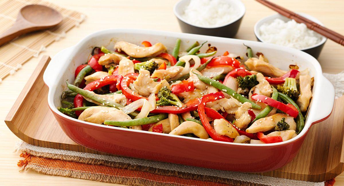One-Dish Dinner: Sticky Sesame Chicken with Asian Veggie Stir-Fry
