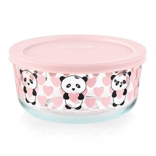 Panda Love 4-cup Glass Food Storage Container with Pink Lid