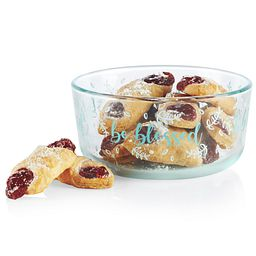 Sentiments Be Blessed 4-cup Glass Food Storage Container with cookies inside