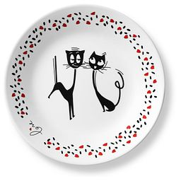 "Loving Cats Flirty 6.75"" Appetizer Plate"