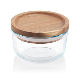 Glass Storage 2 Cup Round Dish with Wood Lid