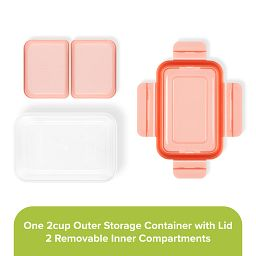 Meal Prep 2-section Divided: 2-cup Rectangle Storage Container with orange lid showing individual pieces