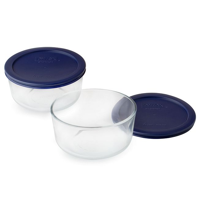 4-Piece Glass Food Storage Container Set with Blue Lids