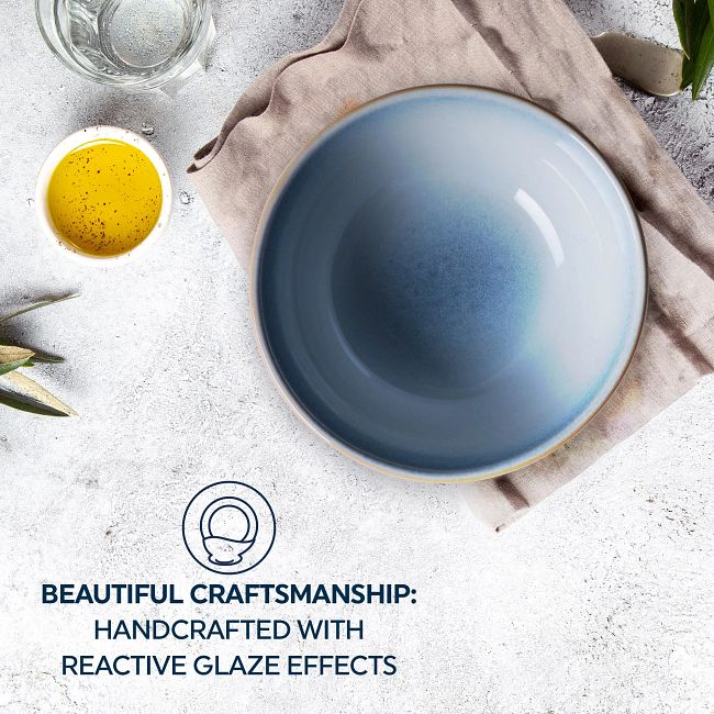 Stoneware 21-ounce Bowls, Nordic Blue, 4-pack