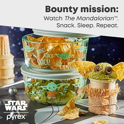 Decorated 4cup 4pc Star Wars The Child Value Pack with text describing Watch the Mandalorian, Snack, Sleep, Repeat