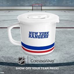 """NHL® New York Rangers® 20-ozvMeal Mug™ back side with text """"show off your team with pride"""""""