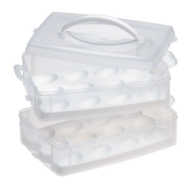 Snap 'N Stack 2-Layer Food Storage Container with Egg Holder Trays