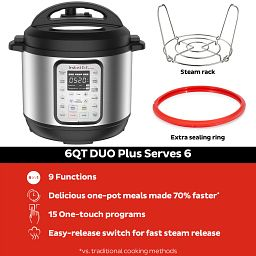 Instant Pot® Duo™ Plus 6-qt Multi-Use Pressure Cooker shown with steam rack and sealing ring