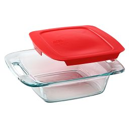 "Easy Grab 8"" Square Baking Dish w/Red Lid"
