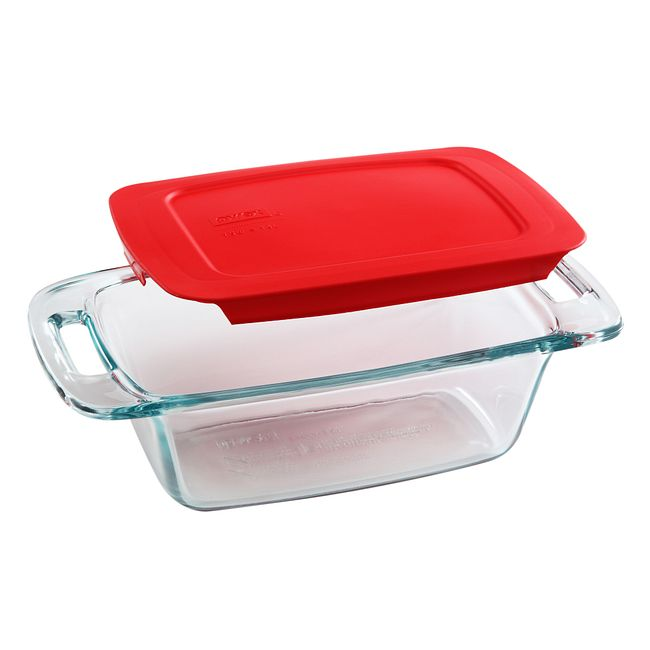 1.5-quart Glass Loaf Pan with Red Lid
