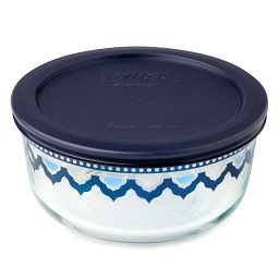 4 Cup Santorini Storage Dish w/ Dark Blue Lid On
