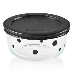 Noir Polka Dot 2-cup Glass Food Storage Container with Black Lid