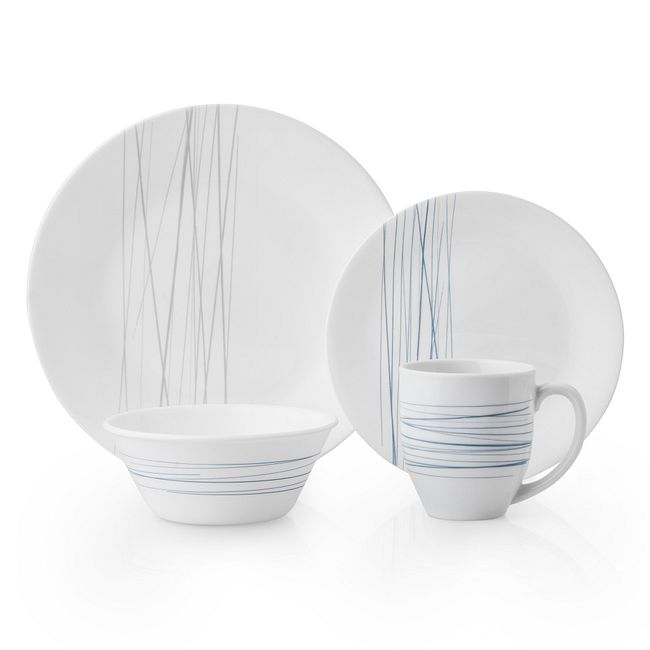 Silver Strands 16-piece Dinnerware Set, Service for 4