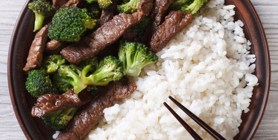 Better-Than-Takeout Beef and Broccoli with side of white rice on a plate