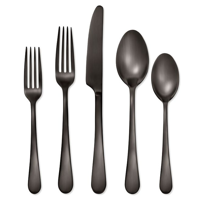 Mirabella Satin Gunmetal Titanium 20-piece Flatware Set, Service for 4