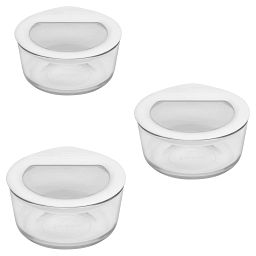 Ultimate 6-pc Value Pack, White includes three 2-cup storage with lids
