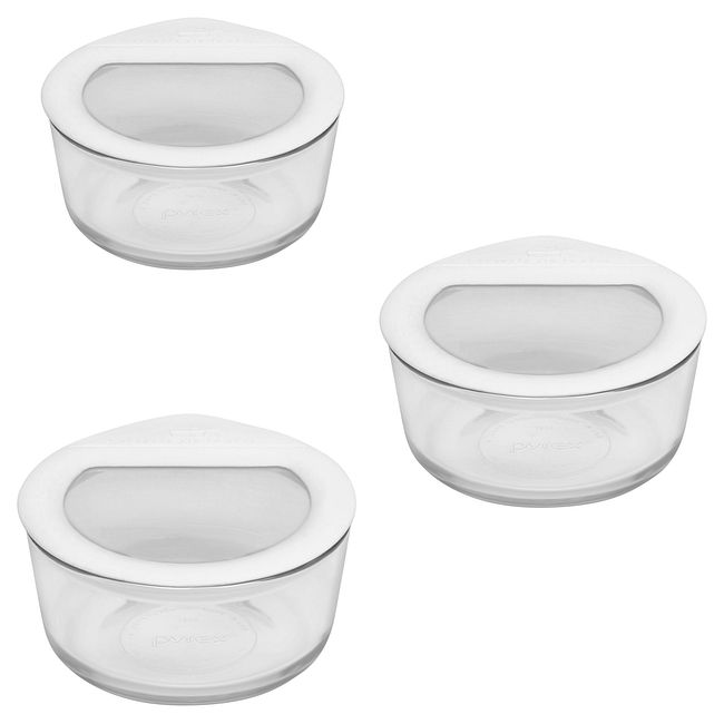 6-piece Glass Food Storage Container Set with White Lids