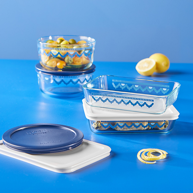 Santorini 8-piece Glass Food Storage Container Set with Lids