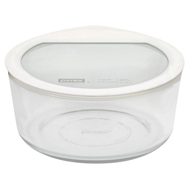 7-cup Glass Food Storage Container with White Lid