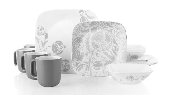 Night Blooms Gray 16-pc Dinnerware Set