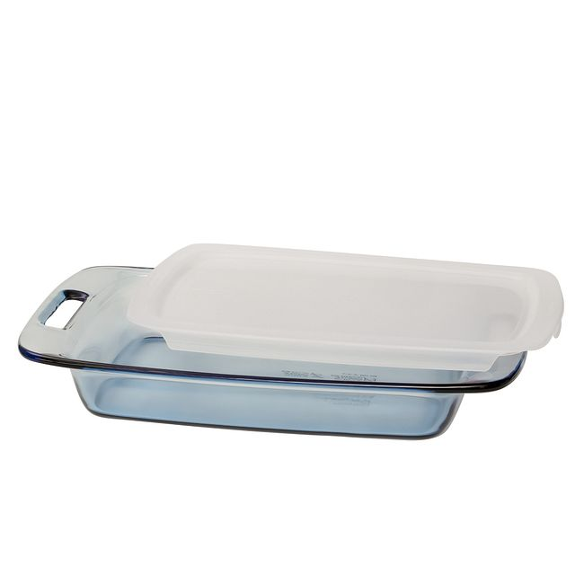 3-quart Glass Baking Dish with White Lid