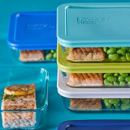 Simply Store 10-piece Meal Prep Glass Storage Set with food inside