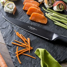 "Black Oxide 8"" Slicer Knife on cutting board"