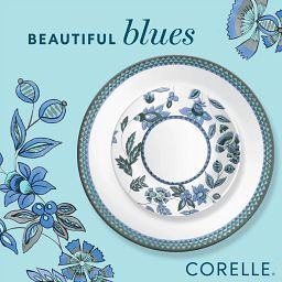 photo of Veranda coordinating dinnerware pieces with text on photo that says beautiful blues