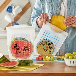 Half-Gallon (2-qt) Silicone Storage Bag 2-pack: Disney Mickey being used to pack watermelon & pineapple