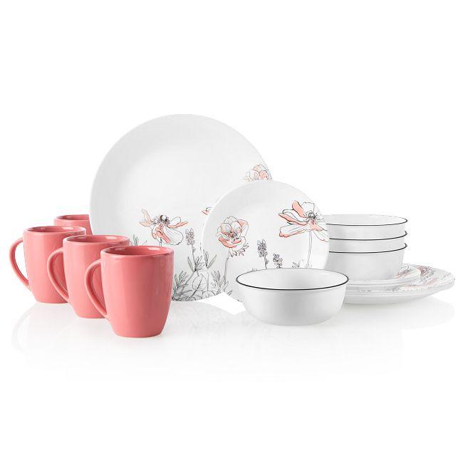 Poppy Print 16-piece Dinnerware Set, Service for 4