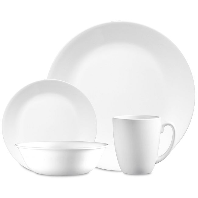 "Winter Frost White 16-piece Dinnerware Set with 10.25"" Diner Plates, Service for 4"