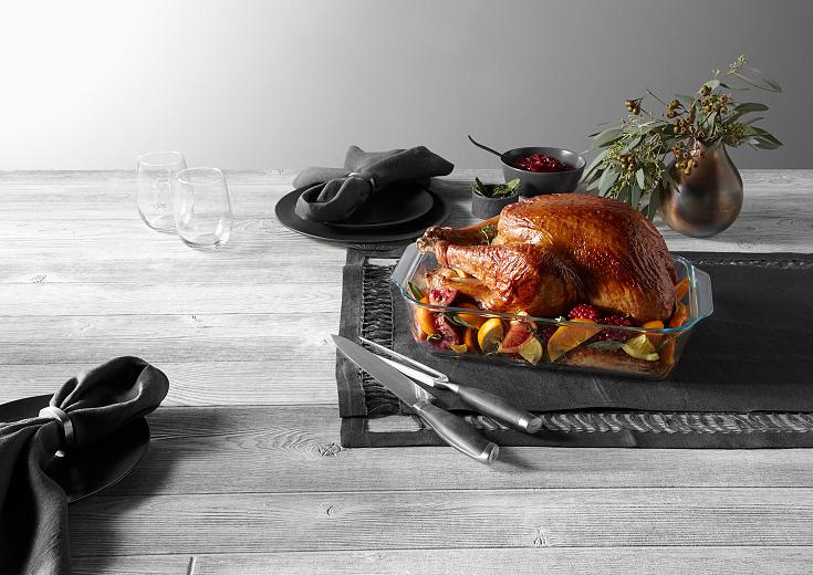 Turkey Shown in a pyrex deep baking dish