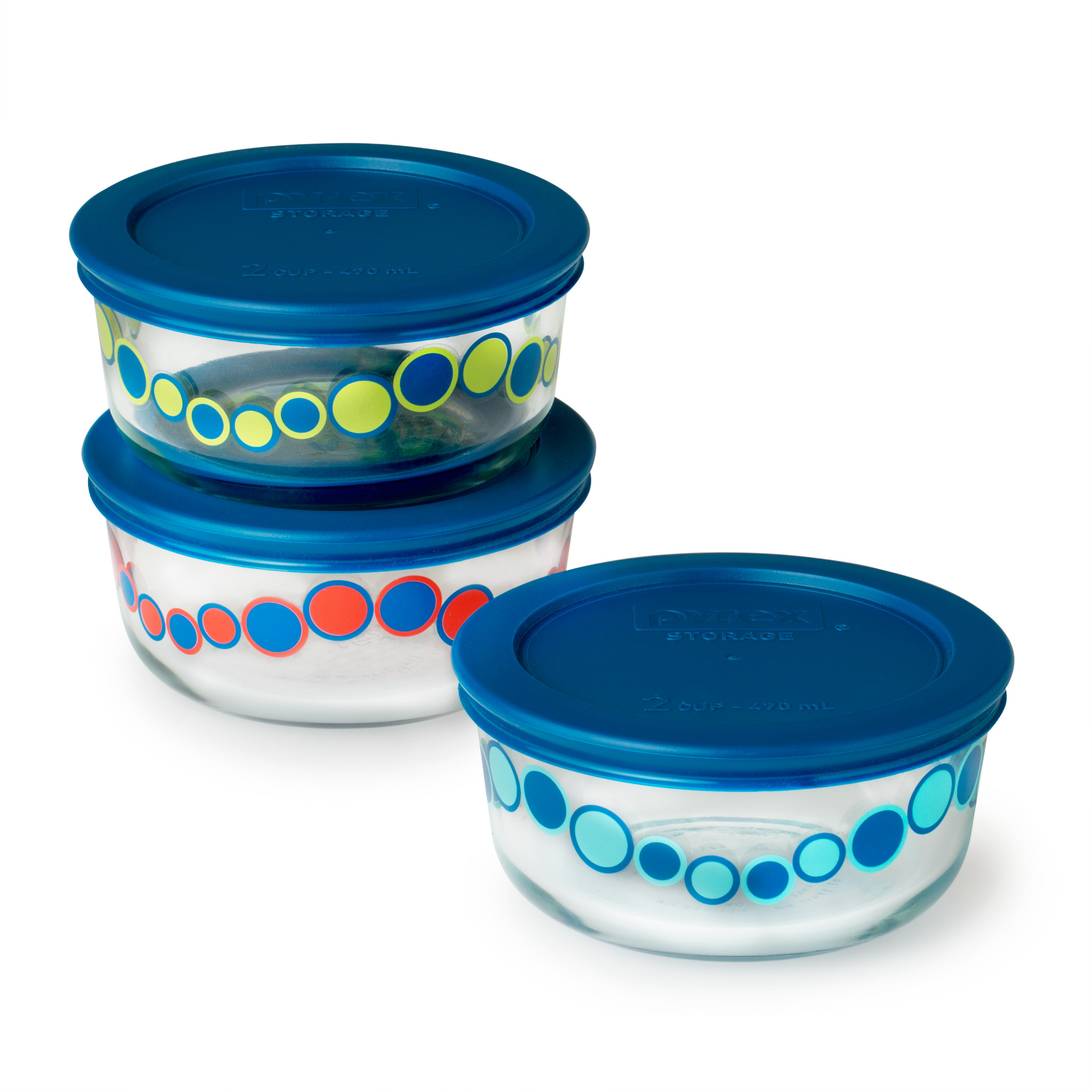 Pyrex Simply Store 6-Pc 2 Cup Storage Dish Value Set, Assorted Cirque
