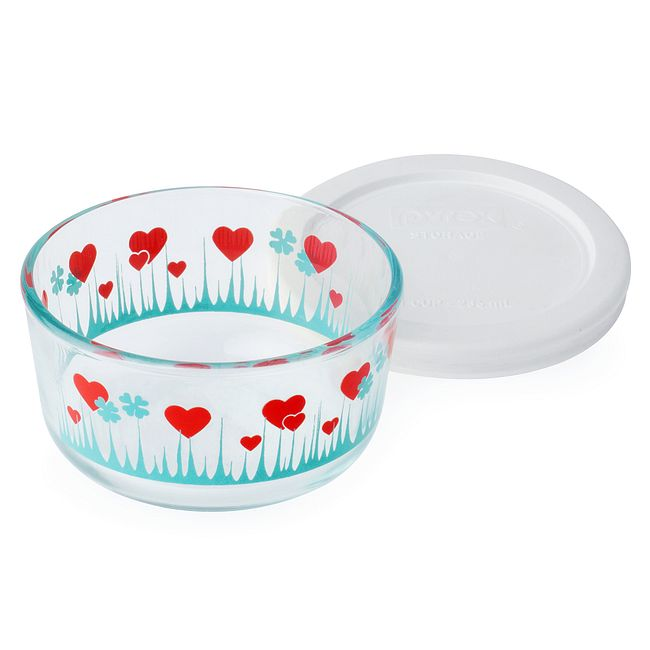 Lucky In Love 1-cup Glass Food Storage Container with White Lid