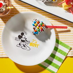 "8.5"" Salad Plate: Mickey Mouse™ - Oh Boy with Mickey shaped candy on a stick"