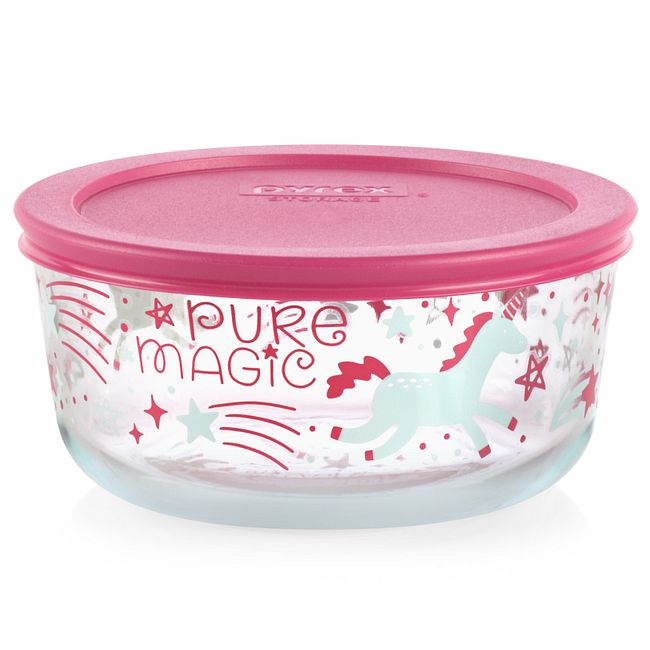 Unicorn 4-cup Glass Food Storage Container with Pink Lid