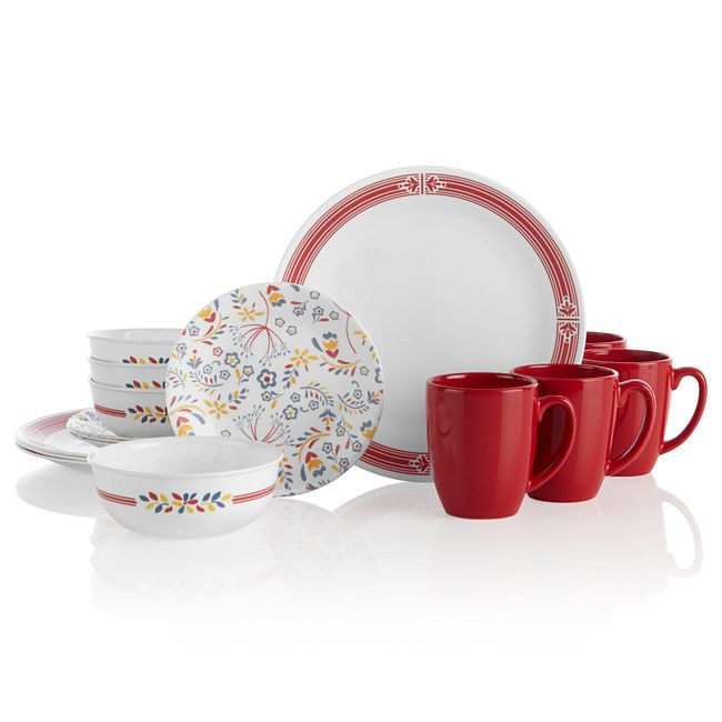 Prairie Garden Red 16-piece Dinnerware Set, Service for 4