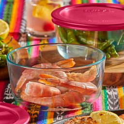 Sangria 4-cup Round Glass Storage Container Set, with shrimp in one bowl