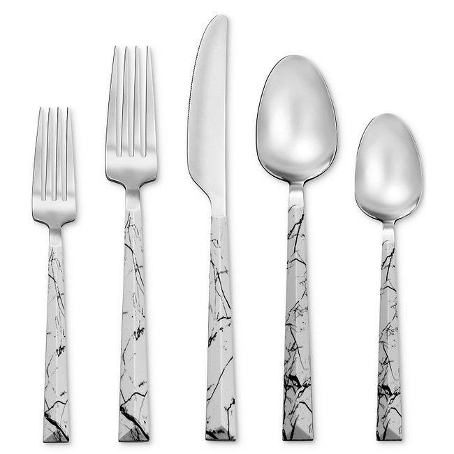 Dali White Marble 20-piece Flatware Set, Service for 4